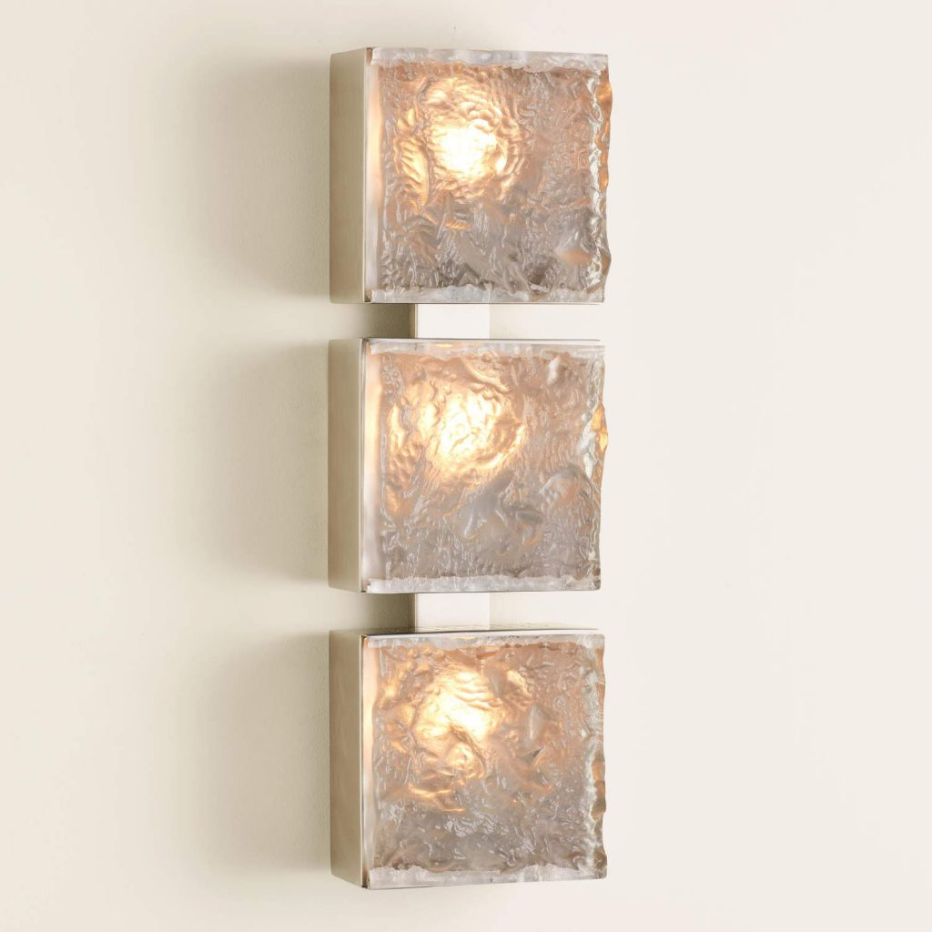 7.91078-HW Triple Cube Sconce-Satin Nickel-HW