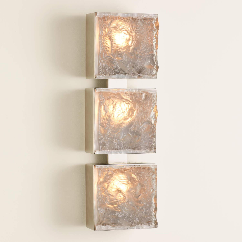 7.91078-HW Triple Cube Sconce-Satin Nickel-HW
